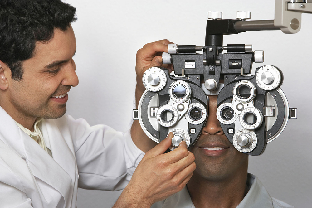 man getting eye exam