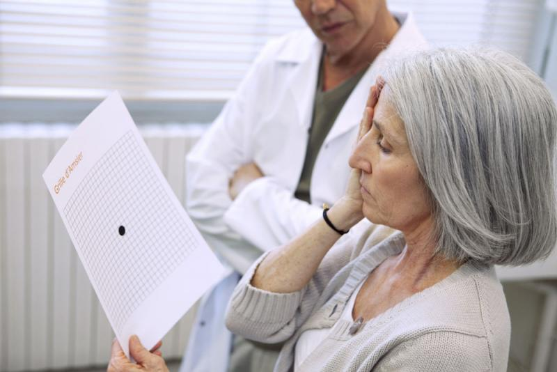 Woman in a macular degeneration test